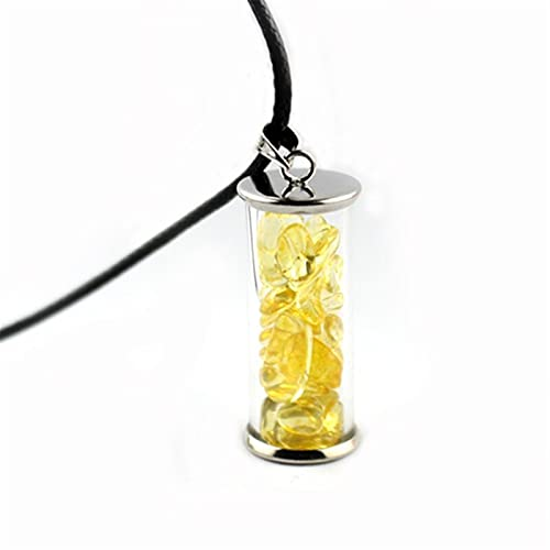 WEARRR Cadena de Cuero Luminoso Piedra Hombres Colgantes de los Collares de la joyería Botellas Brillan en la Oscuridad de Piedra Natural Collar de Regalos for Las Mujeres (Metal Color : Y)