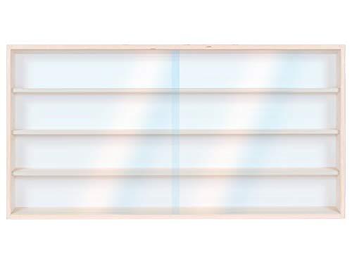 V80.4 Wandvitrine | 80 x 39 x 8,5 cm | van onbehandeld berkenhout | 4 legplanken | 2 verschuifbare plexiglas ruiten | Collectie | auto's | treinen | miniaturen | schaal N en H0