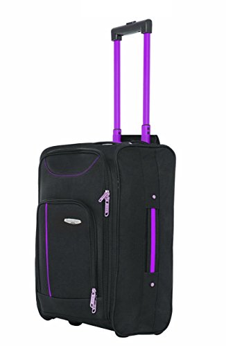 RyanAir Cabin Size Lightweight Hand Luggage Carry On Bag Trolley Suitcase (Black & Purple)