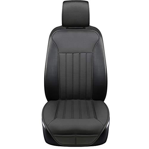 BLACK PANTHER Coprisedile Auto, Accogliente Coprisedile Universale Auto Pelle, Anti Scivolo Coprisedile Singolo con Schienale (1PC-Nero)