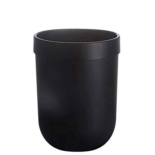 Yuxahiugljt Papelera Papelera de Lata Redonda, contenedores de Basura Papelera for baños, Polvo de Salones, cocinas, oficinas en casa (Color : Black)
