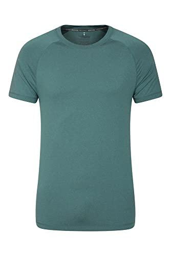 Mountain Warehouse Agra Camiseta mélange para Hombre - Ligera, cómoda, con Cuello Redondo, de Secado rápido y protección UV - para Viajar y Caminar Azul petróleo 3XL