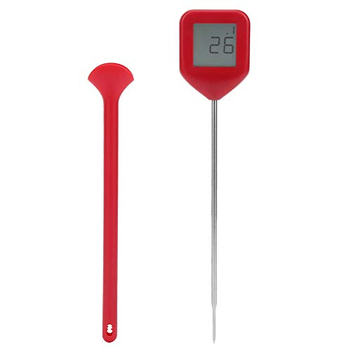 Cikonielf Thermomètre à Viande de Cuisson numérique 360 degrés Rotatif Barbecue thermomètre de Cuisson des Aliments Accessoire de Cuisine(Red)