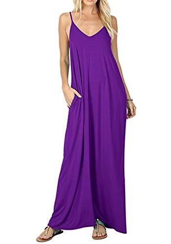 SLYZ Vestito A Canotta Lunga Tinta Unita Multicolore in Stile Estivo da Donna Europea E Americana