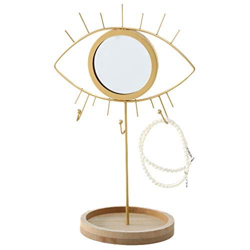 Schmuckständer mit Spiegel in Augenform und Schmuck-Ablage für Ketten, Anhänger, Ringe, Ohrringe, Armbänder und Uhren in goldfarben