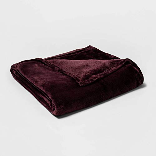 Twin/Twin XL Wine Microplush Bed Blanket 92 x 66 by Threshold Collectiion