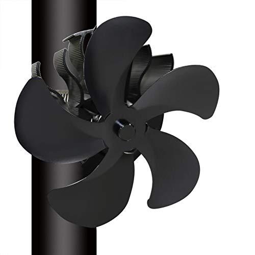WUSHUN Ofenventilator Kaminventilator Aktualisiert Stromloser Ventilator - Kamin Ventilator Stromlos - Ventilator für Holzöfen - Ofen Ventilator für Optimale Verteilung der Luft (5 Klingen)