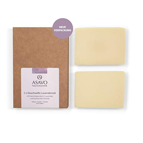 ASAVO Premium Lavendelseife, handgeschöpfte Naturseife, mit Bio-Karitébutter, nativem Bio-Kokosöl & natürlichem Lavendelöl, vegan, Clean Beauty Produkt, 2x95g