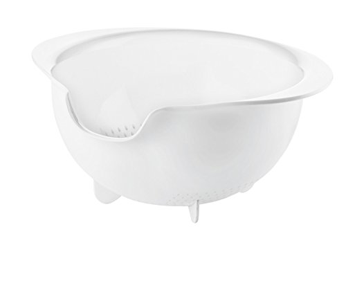 Guzzini My Kitchen All-in Easy Pouring Colander, 11-1/2-Inches by 10-Inches by 5-Inches, White