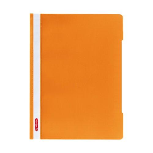 Herlitz 11317120 Schnellhefter A4 - Quality, Polypropylen-Folie, 10-er Packung, Glasklar mit Beschriftungsstreifen, orange