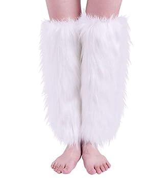 Nanxson Womens Fur Leg Warmer Winter Furry Long Boot Cuffs Cover TTW0034  white