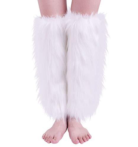 Nanxson Scaldamuscoli in pelliccia da Donna Peloso Scaldamuscoli Copri polsini per stivali TTW0034 (L, Bianco)