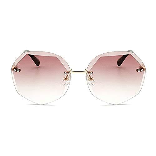 Raxinbang Gafas de Sol Europa Y Los Estados Unidos Tallados En Cristal Gafas De Sol Moda Polígono Gafas UV400 Protección Marco Dorado Lente Gradiente De Color del Té