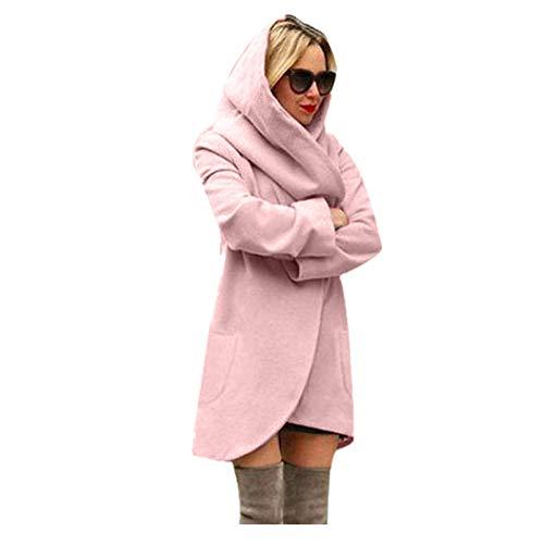 iHENGH Damen Winter Jacke Dicker Warm Bequem Lose Parka Mantel Frauen Lässig Stilvoll Woolen mit Kapuze dünnen Hoodies Top(2XL,Rosa)