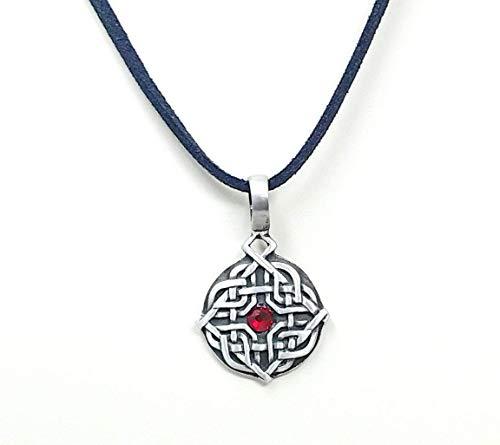 Diamond Celtic Knot with Ruby-Colored Swarovski Crystal Pendant Necklace