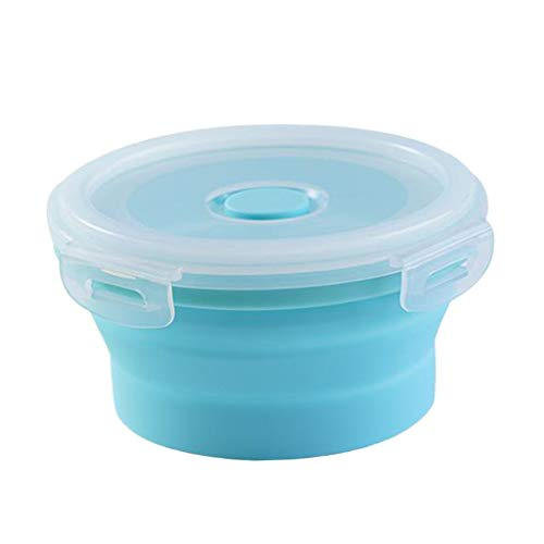 #N/A Round Food Container Storage Collapsible Camping Bowl Microwave Refrigerator - Multicolor, small 350ML blue
