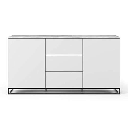 Buffets Design et élégants, Collection Join, signée TEMAHOME. - Join 180H1, piétement Acier Noir, Blanc Mat, Plateau en marbre Blanc