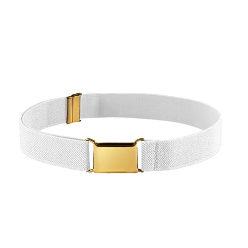 Kids Elastic Adjustable Belt for Boys Girls Toddlers With Gold Square Buckle