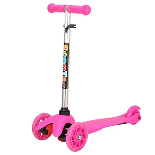 BAOMA Mini Kick Scooter Detachable 4 Wheel Scooters Adjustable Height With Light Up Wheels For Kids Girls Boys Toddler, Ages 3-13years / pink