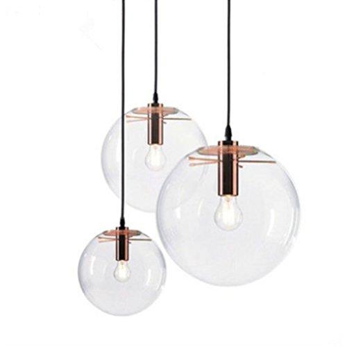 J&B Nordic Pendelleuchten Globus Chrom Lampe Glaskugel Pendelleuchte Lustre Suspension Küche Leuchte E27 Hause Beleuchtung,Rosegold,200