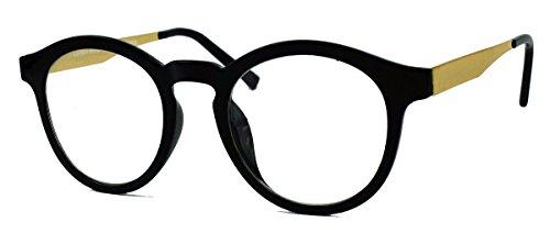 Stylische Nerd Brille im 50er 60er Vintage Look Streberbrille Pantobrille mit Metallbügel VN36 (Schwarz / Gold)