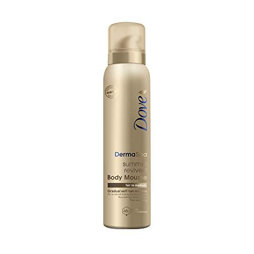 Dove DermaSpa Summer Revived Skin Gradual Fake Tan Body Mousse, streifenfrei, für Fair bis Medium, Unisex für Männer und Frauen, 48h Feuchtigkeitspflege, Urlaub Essentials, Natural Look Tan 150ml