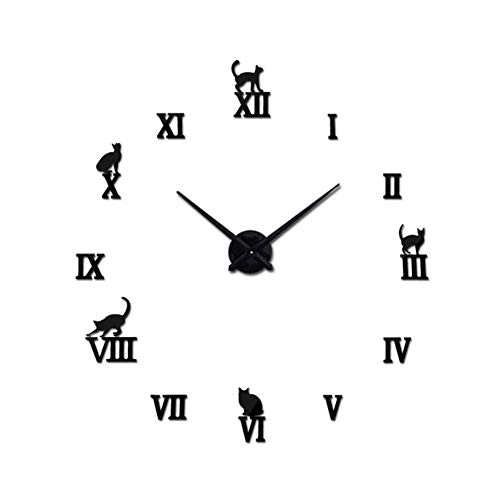 ianqujiangxinqujianjunbaih Restaurante Familiar Cocina Reloj de Pared 3D Sala de Pared de acrílico Reloj de Cuarzo Reloj Relojes de Agujas Bricolaje decoración del hogar Pegatina Europa