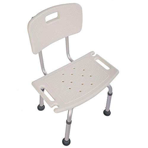OMECAL 350LBS Medical Shower Chair Bath Seat,Upgraded Aluminum Legs Stool Transfer Bench SPA Bathroom Bathtub Chair Home No-Slip Safety Adjustable 7 Height(with Back)