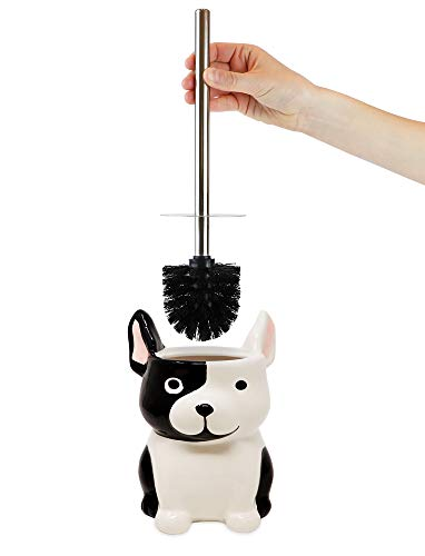 Isaac Jacobs Black and White Ceramic Dog Toilet Bowl Brush Holder with Chrome Metal Handle (Unassembled) - Bathroom Accessory & Cleaning Storage (Dog)