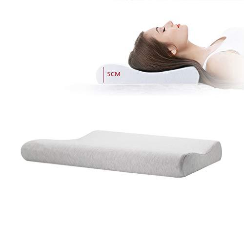PETAMANIM - Almohada de espuma viscoelástica con contorno, almohada baja, almohada fina, almohada ergonómica ortopédica, almohada hipoalergénica para espalda, para dormir en el estómago, gris, S