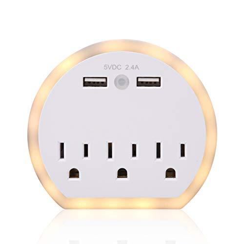 Night Light, 3 Plug, USB Wall Charger, | Multiplug Outlet, Auto On/Off Light Detector, ETL Listed