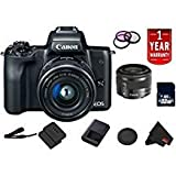 Canon EOS M50 Mirrorless Digital Camera International Model w/ 15-45 is STM Lens (Black) Bundle