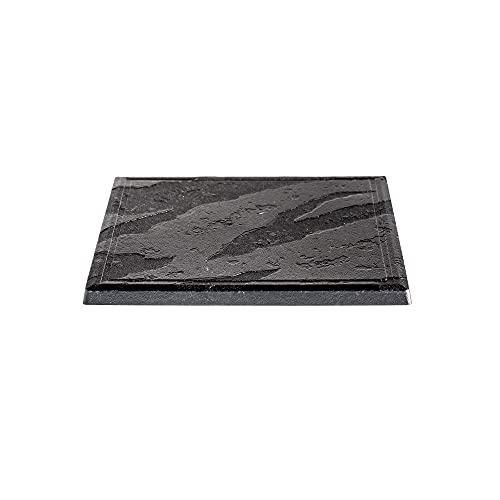 MAQA 10 platos de pizarra sintética de polipropileno, plato de servir cuadrado efecto piedra pizarra negra, 24 x 24 cm