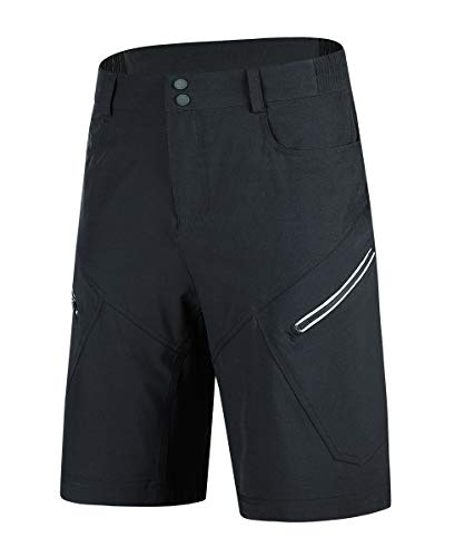 Souke Sports Mens Mountain Bike Biking Shorts Breathable Stretch MTB Shorts Loose Fit Cycling Baggy Pants with Zip Pockets Black