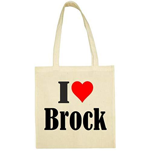 Tasche I Love Brock Größe 38x42 Farbe Natur Druck Schwarz