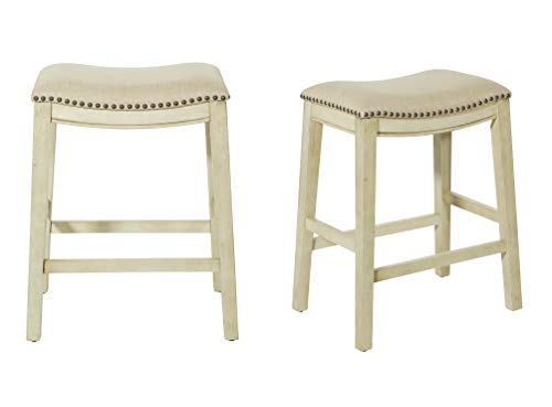 Office Star Saddle Stool with Antique White Base, 24-Inch, Beige...