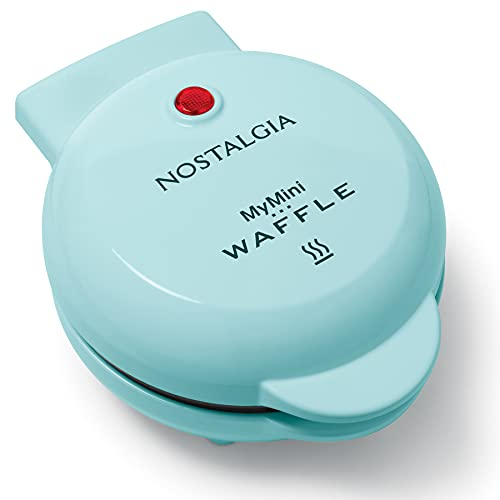 Nostalgia MWF5AQ MyMini Personal Electric Waffle Maker, 5-Inch Cooking Surface, Hash Browns, French Toast, Grilled Cheese, Quesadilla, Brownies, Cookies, Aqua