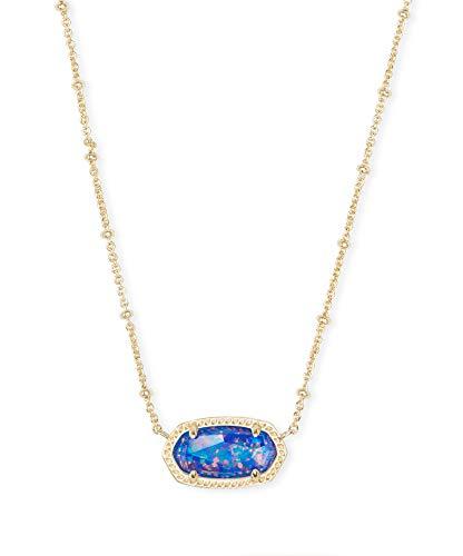 Kendra Scott Signature Elisa Gold Plated Necklace (Indigo Kyocera Opal Illusion)