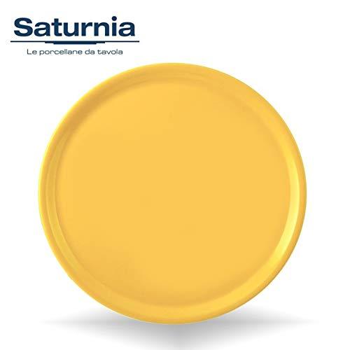 Saturnia Piatto da Pizza Piatto per Pizza Napoli in Porcellana Colore 33cm (Giallo)