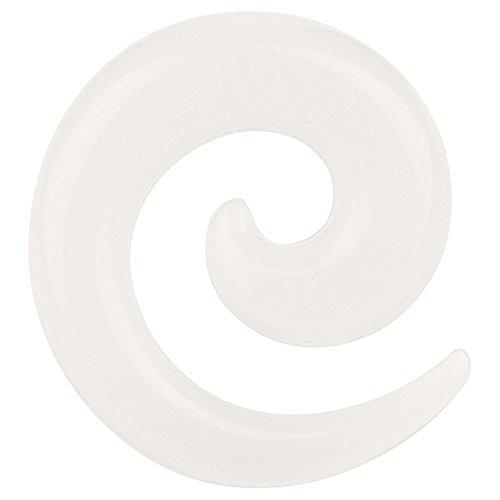 Piercingfaktor Piercing Ohrpiercing Dehnungsspirale Dehnungsschecke Schnecke Expander Ohr Kunststoff Glow in The Dark 6 mm Weiß