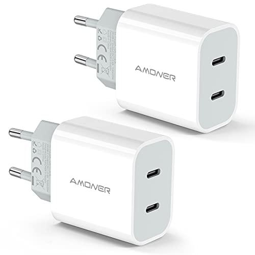 Amoner Cargador USB C de 2 puertos de 25 W para iPhone USB C, cargador rápido compatible con iPhone 12,12mini,12 Pro,12 Pro Max,11,11 Pro,11 Pro Max,Nuevo SE,XR (blanco)