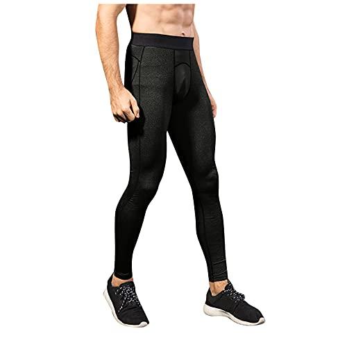 CHUXI 2021 Mens Yoga Pantalones Deportes Estiramiento Fitness Entrenamiento Medias de Cintura Alta Transpirable Secado Rápido Legging Pantalones, #9Negro, 34-37