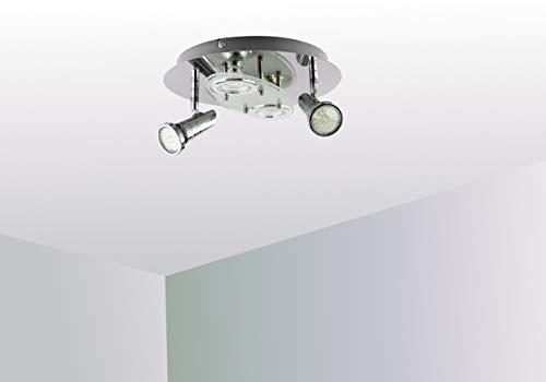 Trango 4-flammig 3088 LED Deckenleuchte *ELLA* in Rund Chrom-Optik incl. 4x 3 Watt GU10 LED Leuchtmittel I Deckenlampe I Deckenstrahler I Deckenspots I Wohnzimmer Lampe schwenkbar und drehbar