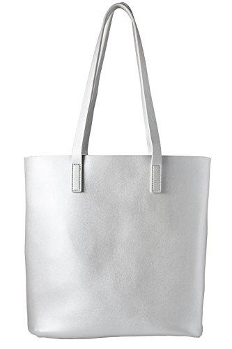 cecilia&bens Handtasche | Shopper Damen groß | Schultertasche Umhängetasche inkl. Innentasche mit Reißverschluss 100% vegan | Berlin Design, Farbe:silber