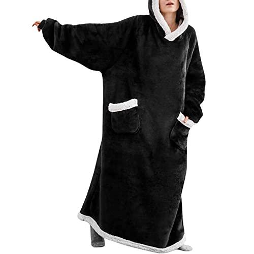 Sudadera con capucha de gran tamaño, manta de gran tamaño, manta con capucha, súper suave, con bolsillo frontal, para hombres, mujeres, adolescentes y amigos, Negro, talla única