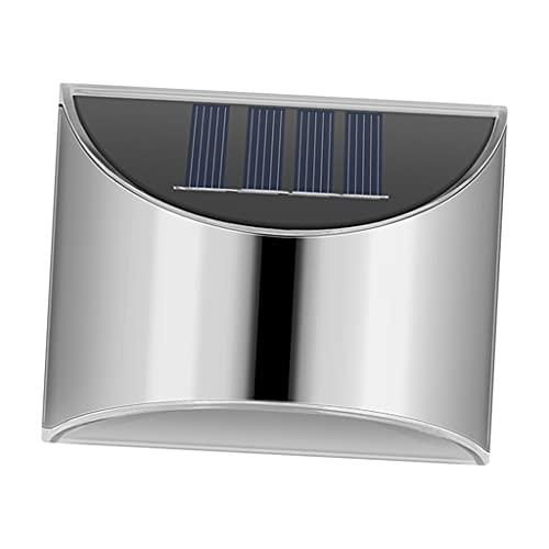 MagiDeal Paquete de 2 Luces de Cubierta Solar Brillantes 4 Luces de Escalera LED Impermeables de Acero Inoxidable Luces de Cerca al Aire Libre Solar lámpara - Blanco Claro
