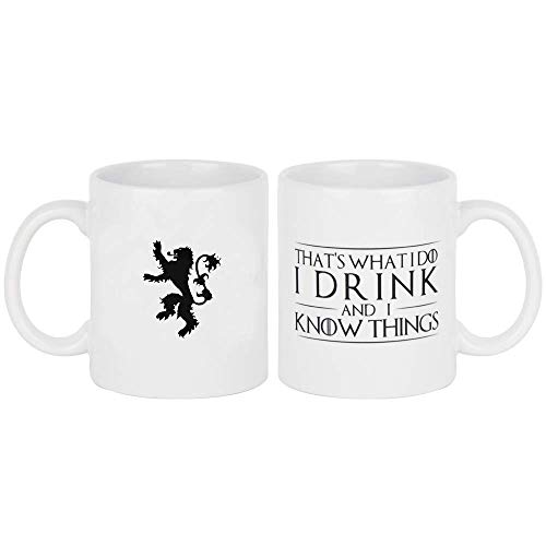 That's What I Do, I Drink and I Know Things (Game of Thrones), Tyrion Lannister 11 OZ Ceramic Coffee Mug with the Lannister Lion Family Sigil on the Back With Unique Gift BOX