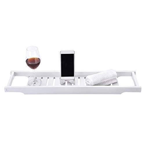 Zoternen - Estante para bañera, multifunción, de MDF, Extensible, para Aperitivos, Frutas, teléfonos móviles y Copas de Vino, 50-70 x 16 cm