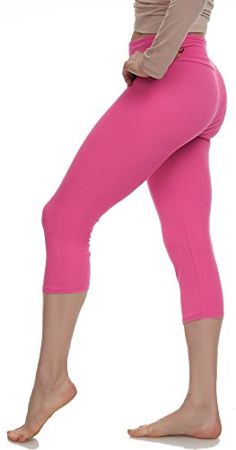 LMB Leggings for Women - High Waisted Womens Workout and Yoga Pants - Athletic, Seamless Girls Gym Legging - Soft Spandex, Sports Fit Pant for Running, Jogging, Dance - Fuchsia - One Size