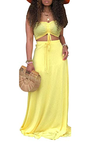 Ophestin Women Sexy Tube Ruched Tie Crop Top Long Skirt Summer Bodycon 2 Piece Outfits Maxi Dress Set Yellow L